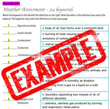 Weather Keywords Assessment/Quiz - Bonus Enhanced Font(24 font) 504/IEP friendly