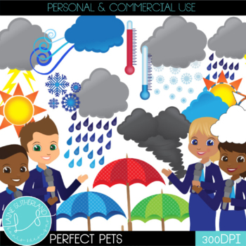 Weather Kids Clip Art Set