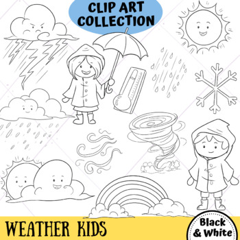 Weather Kids Science Clip Art (BLACK AND WHITE ONLY)