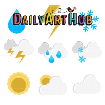 Weather-Kinds Of Weather Clip Art - Great for Art Class Projects!
