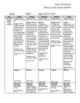 Weather LG/SG Lesson Plan - Aligns with GA PreK