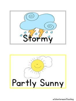 Bright & White Weather Label Calendar Cards