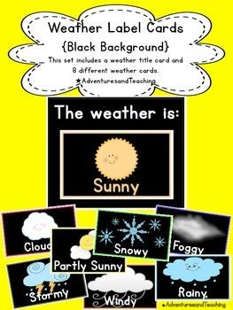 Bright & Black Weather Label Calendar Cards {Simple}