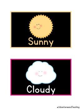 Bright & Black Weather Label Calendar Cards