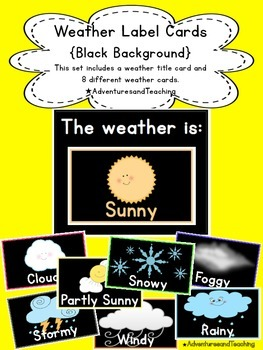 Bright & Black Weather Label Calendar Cards {Simple}