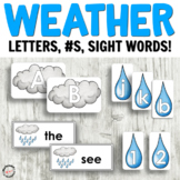 Weather Language Centers: Letter Cards, Sight Words, Numbe