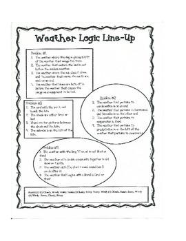 Weather Logic Line Up - NO PREP!!! common core aligned
