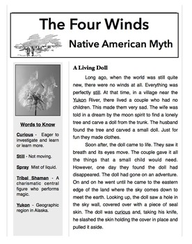 Weather Mad Libs: Closed Text Reading, Myths, Folktales, Parts of Speech