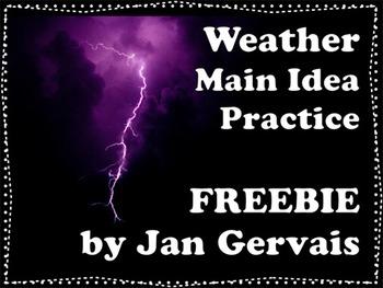 Weather Main Idea Practice FREEBIE