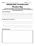 """Weather Map """"Geography Term"""" Worksheet"""
