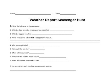 Weather Map Scavenger Hunt