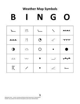 Weather Map Symbols BINGO