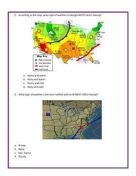 Weather Maps Assessment - 4th Grade Science