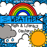 Weather Math and Literacy Centers for Preschool, Pre-K, and Kindergarten