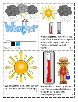 Weather Mini Reader, Vocabulary Cards, Trackers & Foldable