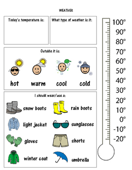 Weather Morning Meeting sheet