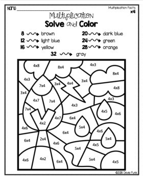 Weather Multiplication Coloring Worksheets Solve and Color