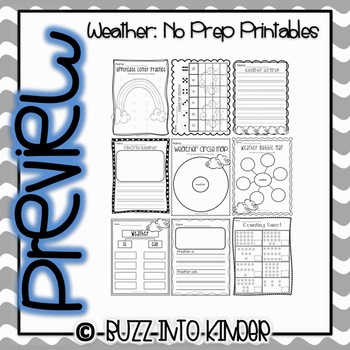 Weather - NO PREP Math and Literacy Printables