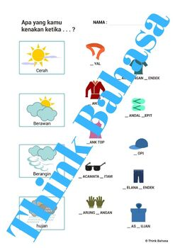 Weather & Nature Indonesian Class NO PREP (Poster, Flash Cards, Worksheets)