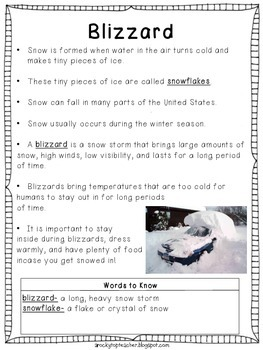 Weather Nonfiction Reading Passages