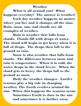 Weather: Nonfiction Text and Comprehension Check