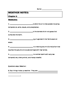 Weather Notes - Elementary Weather Unit