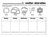 Weather Observation Recording Sheet