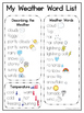 Weather Pack: Vocabulary Cards and Activities Included