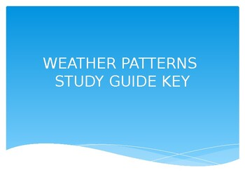 Weather Patterns Study Guide