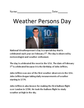 Weather Person Day - February 5 - lesson facts history of John Jeffries weather