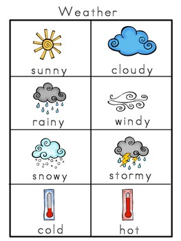 weather picture word bank and picture cards by kindertrips
