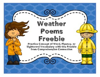 Weather Poems for Concept of Word and Word Work