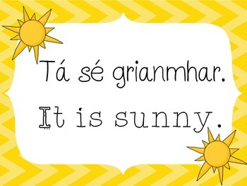 Weather Posters - English and Gaeilge - Irish