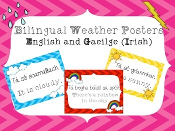Weather Posters - English and Gaeilge - Irish