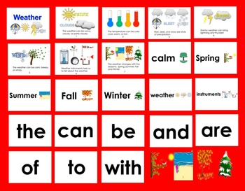 Weather PowerPoint - 3 Reading Levels + Illustrated Vocabulary Slides