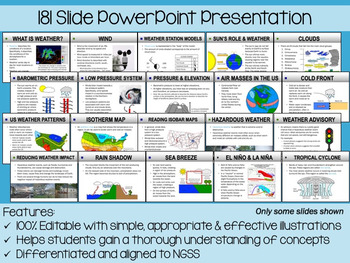 Weather PowerPoint, Notes & Exam (Differentiated and Editable)