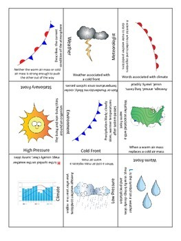 Weather Predictions; Weather Vs. Climate 3x3 Review Game