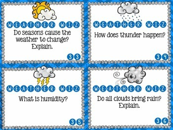 Higher Level Weather Questions: Task Cards, Fan Strips, and Journal Prompts