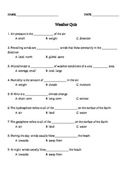 Weather Quizzes