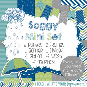 Digital Paper and Frame Mini Set Weather Soggy