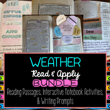 Weather Reading Comprehension Interactive Notebook BUNDLE
