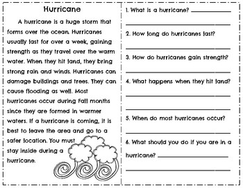 Weather Reading Comprehension Passages & Questions ~ Tornado ~ Hurricane