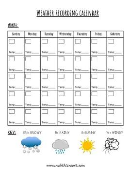 Weather Recording Calendar Science TEKS K.4C  1.4C 2.4A 2.8A 3.8A 4.8A