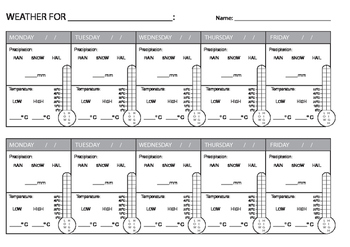 Weather Recording Sheets