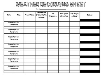 Weather Recording Table