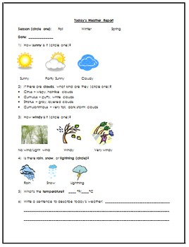 Weather Report Log - Science
