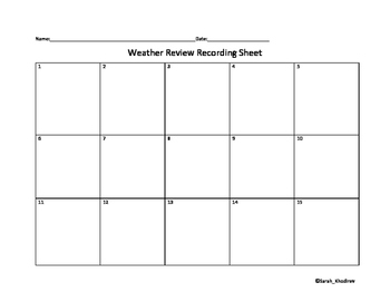 Weather Review Recording Sheet