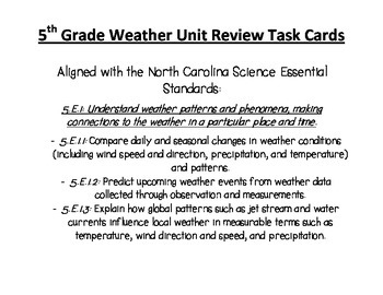 Weather Review Task Cards