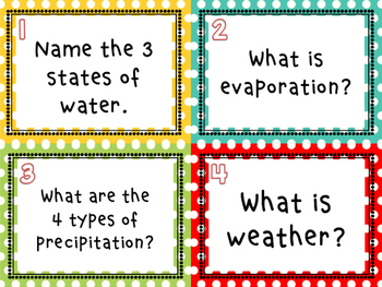 Weather Review Task Cards - Set of 32