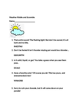 Weather Riddle and Scramble Worksheet